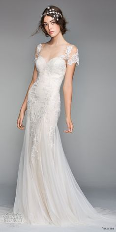 willow by watters spring 2018 short sleeves sheer bateau sweetheart neckline heavily embellished bodice romantic elegant fit and flare wedding dress sheer button back chapel train (10) mv -- Willowby by Watters Spring 2018 Wedding Dresses #wedding #bridal #weddings
