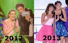 Lea Michele and Cory Monteith in 2012. Lea Michele and Glee Cast in 2013.