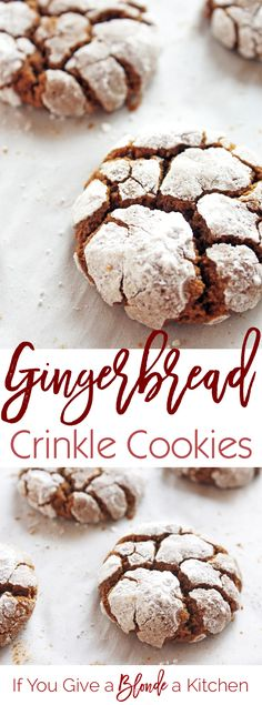 Gingerbread Crinkle Cookies Crinkle cookies get a Christmas makeover. These cookies are made with gingerbread! Chewy, delicious and coated with confectioners' sugar, these Gingerbread Crinkle Cookies are the best! Cookie Desserts, Holiday Desserts, Holiday Baking, Holiday Treats, Just Desserts, Holiday Recipes, Delicious Desserts, Christmas Recipes, Holiday Foods