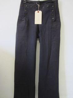 World War II or Earlier US Navy Cracker Jack Sailor Pants, Navy, Wool,13 buttons