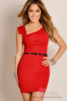 I absolutely LOVE this dress! And I want to be able to look this good in it! :) » Red Trendsetter Chic Sleeveless Belted Waist Wide Strap Cocktail Dress. Available at SexyDresses.com.