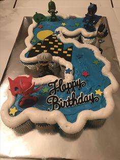 Pull apart PJ Masks cupcake cake