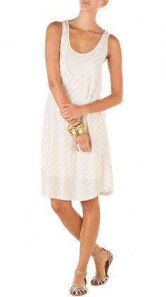 Double Layer Stripe Racerback Tank Dress - Natural/White