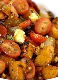 Roasted Butternut, Onion, Feta and Tomato - serve hot as a veggie side dish, or at room temperature as a salad. Vegetarian Grilling, Healthy Grilling Recipes, Best Vegetarian Recipes, Barbecue Recipes, Veggie Recipes, Veggie Food, Barbecue Sauce, Vegetarian Options, Vegetarian Food