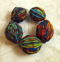 5 Colorful Carved Beads  - Handmade from Polymer Clay