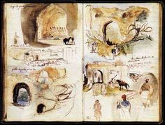 Delacroix: Doors and walls in Meknes, sketchbook of North Africa and Spain.