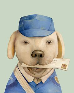 The Mail Dog 8x10 archival art print Animal Crew by animalcrew