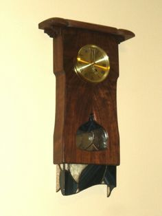 Beautiful Walnut And Stained Glass Clock By Wisp Woods