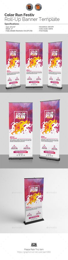 Color Run Festival Roll-Up Banner Template Vector EPS, AI Illustrator