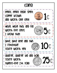 Free printable coin identification mats for kindergarten and first grade money activities Google Drive, Teaching Money, Teaching Math, Teaching Ideas, Preschool Ideas, Money Activities, Math Resources, Math Classroom, Kindergarten Math