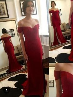 Simple Trumpet/Mermaid Off-the-shoulder Chiffon Sweep Train Split Front Red Prom Dresses $135.99