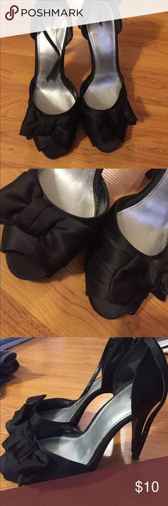 Black heels Black heels, with bows and straps, some wear Mossimo Supply Co Shoes Heels