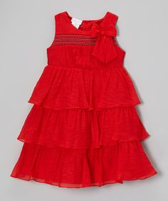 Loving this Red Tiered Carolina Dress - Infant, Toddler & Girls on #zulily! #zulilyfinds