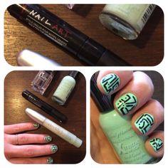 nailart noir sur Pastel Vert Sally Hansen