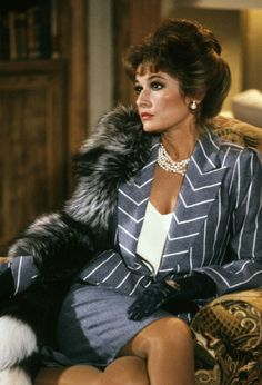 Stephanie Beacham from Dynasty TV Show wearing designer Nolan Miller: The Best of Dynasty Through the Years -- The Cut... Oh to wear the clothes from Dynasty!
