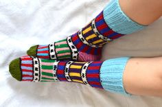 knit socks, colourful Turkish Knitted Socks Slippers, woman socks slippers, knitted home shoes, Knee High Socks, Leg Warmer by AnatoliaDreams on Etsy