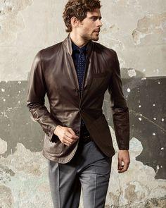 Brunello Cucinellii Dark Brown Leather Three-Button Blazer // #Designer #Fashion #Luxury #Hype #Menswear #Mensstyle #Mensfashion #Outfit #Style #Brown #leather #blazer // Find similar pins at @damee1 [https://www.pinterest.com/damee1/]