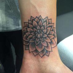 Black and Grey Dahlia Tattoo