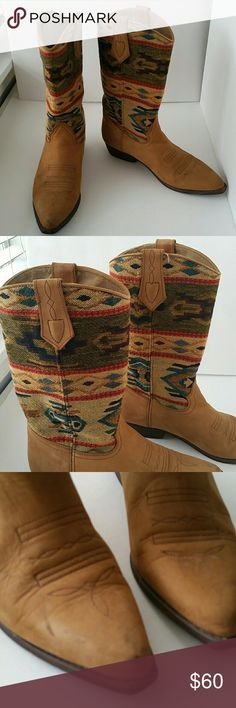 Seychelles Vintage Cowboy boots Beautiful kilim weave canvas uppers with sueded leather on the bottom.  There are a few scuffs on the right boot and minor wear on the soles but otherwise these are in excellent condition. Seychelles  Shoes