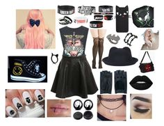 """""""Untitled #3"""" by mackenzie-thomas-1 ❤ liked on Polyvore featuring WithChic, Pilot, Zanellato, Converse, Lime Crime, Noir and Barbed"""