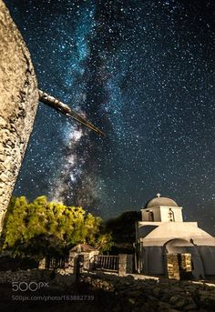 Milky Way rises over Kythnos island,Greece. Sky Watch, Milky Way From Earth, To Infinity And Beyond, Celestial, Stargazing, Night Skies, Beautiful Landscapes, Science Nature, Cosmos