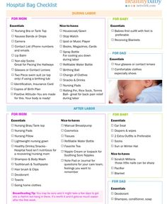Birth hospital bag checklist - repinned image