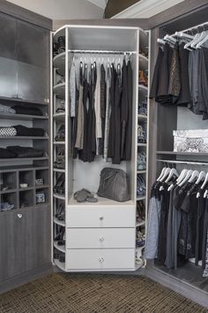 New innovation utilizing a large version of the Lazy Susan, make closet corners accessible.