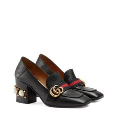 ed62e80149c60 GUCCI Marmont 55 Leather Mid-Heel Loafers.  gucci  shoes  heels ...