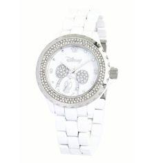 Ewatchfactory Women's 56270-1A Disney Mickey Mouse White Enamel Sparkle Watch: Watches: Amazon.com