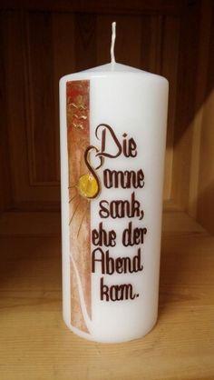 Trauerkerze Pillar Candles, Petra, Anna, Candles, Homemade Candles, Condolences, Embellishments, Crafts