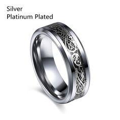 Vintage engagement Dragon Tungsten Steel Ring #rings