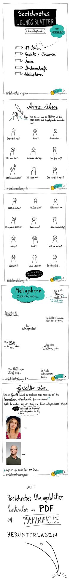 Sketchnotes Übungsblätter von Ines Schaffranek auf pheminific.de  Ausdrucken und loskritzeln!