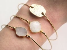The druzy is BACK in stock. Stackable bangles for all! Cate Katan on Etsy