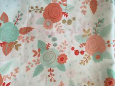 Mint Coral Gold Curtains Floral Curtains Rose by SymmetryHome