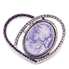 Pugster February Birthstone Heart Beauty Purple Cameo Brooch Pins Pugster. $12.49. Exquisitely detailed designer style,Swarovski element crystal. One free elegant cushioned Gift box available with every order from Pugster.. Can be pinned on your gown or fastened in your hair with bobby pins.. Money-back Satisfaction Guarantee. Occasion: casual wear,anniversary, bridal, cocktail party, wedding