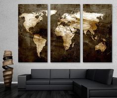 Abstract world map painting made to order this gold leaf world map rustic brown world map canvas print wall art 3 panel split triptych home gumiabroncs