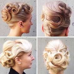 Loving the cake-icing-swirls of these sweet #vintage #updos by Blanche Macdonald Pro Hair School graduate Aaron Brousseau!