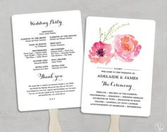 Printable Wedding Program Template Fl Boho Diy Programs Tea Length Blush Peony Vw12