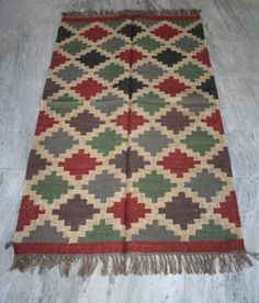 "Turkish kilim Rug Hand made Wool Jute kilim Carpet 60""x36"" Inch Area Rug  #Turkish"