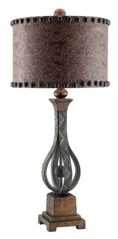 Rambler Table Lamp Western Lamps - Resin with antique iron finish.