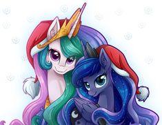 PORFAVOR, NO RECOLOREAR! / PLEASE, DON'T RECOLOR IT! Celestia & Luna :: A Christmas Together! Este me encantó! Realmente sin palabras! ^//^! Quería hacer algo nuevo, lindo y especial ...