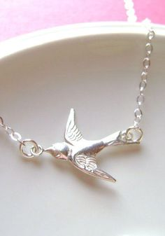 1064a6779 Items similar to Sterling Silver Sparrow Bird Necklace, Swallow, Bridesmaid  gifts, bridal jewelry, delicate, minimal on Etsy
