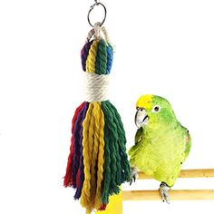 Bwogue Colorful Rope Bird Toy - Pet Bird Cage Toy for Che...