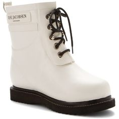 Ilse Jacobsen Women's Rub 2 Rain Boots (397262603) ($169) ❤ liked on Polyvore featuring shoes, boots, ankle booties, ankle boots, white, lace up booties, white ankle boots, low heel booties, waterproof ankle boots and lace up bootie