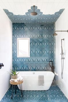 This Kids' Is So Chic That Even Adults Will Be Jealous, boho bathroom with bold tile, bole blue geometric tile in bathroom design with modern slipper tub, modern free standing bathtub in bold modern bathroom, fun kid bathroom design with blue tile Boho Bathroom, Bathroom Kids, Bathroom Layout, Bathroom Interior Design, Bathroom Mirrors, Bathroom Cabinets, Tile Layout, Bathroom Designs, Turquoise Bathroom