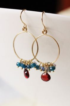 Mozambique Garnet Apatite and Labradorite Earrings, 14k Gold Filled, Hammered Hoops, January Birthstone, Gemstone Cluster - Leora