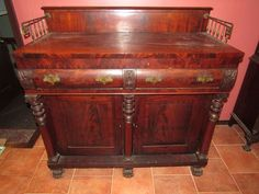 """Antique Empire period flame mahogany buffet/server 44""""Tx61""""Wx24""""D. Has some surface cracks and veneer damage to one drawer front. Large heavy item. Buffet Server, Drawer Fronts, Hope Chest, Storage Chest, Period, Empire, Auction, Surface, Antiques"""