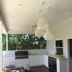 """154 Likes, 19 Comments - Lauren Pearse (@rylointeriors) on Instagram: """"Outdoor kitchen and pendant installation today! Now for furniture! #rylobuildinganddesign…"""""""