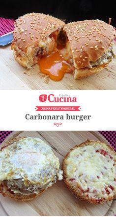 Carbonara burger della nostra utente Sabrina. Unisciti alla nostra Community ed invia le tue ricette! Panini Sandwiches, Toast Sandwich, Street Food, Finger Foods, Tapas, Bbq, Brunch, Food And Drink, Collage