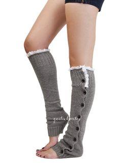 Trend Mark Women Winter Warm Leg Warmers Socks Classic Knitted Crochet Button Lace Long High Knee Socks Fashion Products Hot Sale Leg Warmers